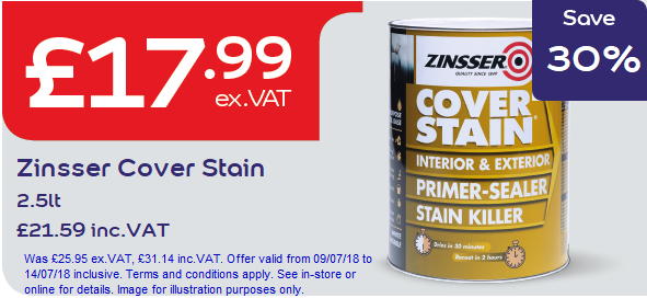 Save 30% on Zinsser Cover Stain 2.5litre