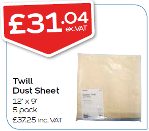Twill Dust Sheet 12' x 9' 5 pack - only available in-store, please visit your nearest branch