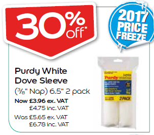 "Purdy White Dove Sleeve (3/8"" Nap) 6.5"" 2 pack"