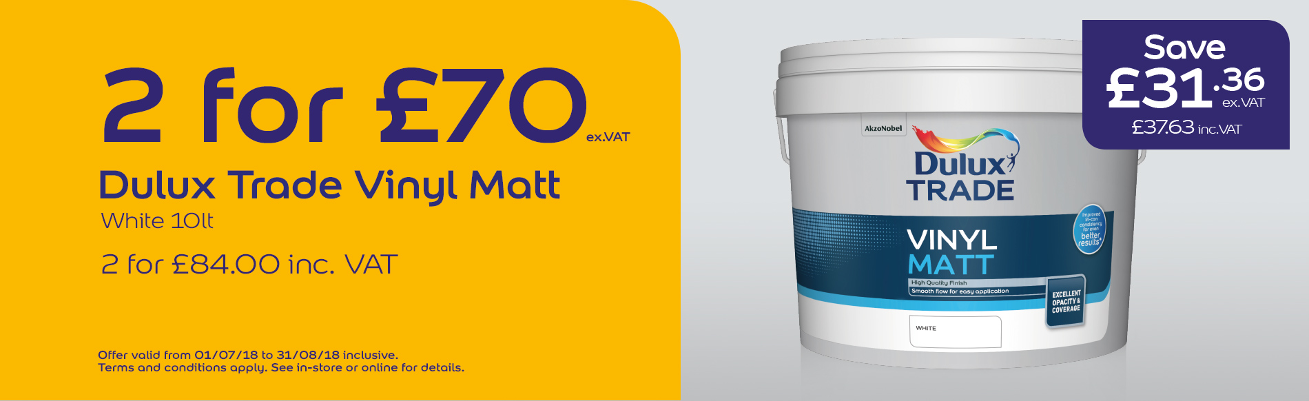 Dulux Trade Vinyl Matt 10L, 2 for £70 ex.VAT