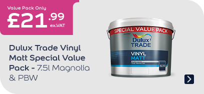 Dulux Trade Vinyl Matt Special Value Pack  - PBW  & Mag 7.5l £21.99