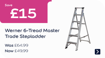 Save £15 Werner 6-Tread MasterTrade Stepladder Now £49.99, Was £64.99