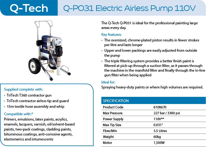 q-tech q-p031 electric airless pump 110v paint sprayer
