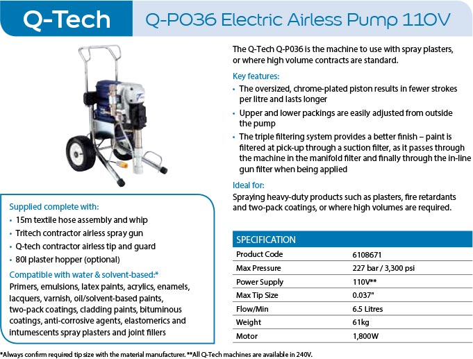 q-tech q-p036 electric airless pump 100v paint spray machine