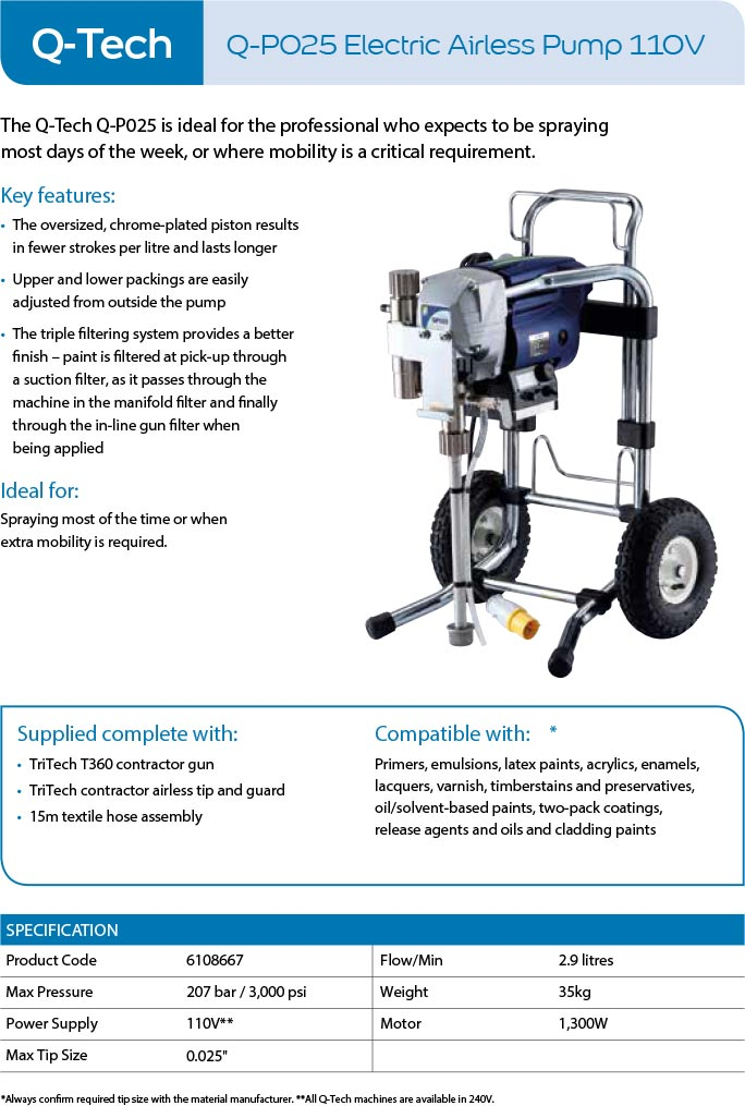 qtech q-p025 electric airless pump 11v sprayer